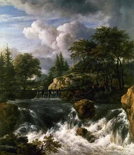 landschaften-gemaelde - Paisaje con una cascada - Ruisdael, Jacob van