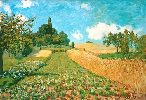 landschaften-gemaelde - Kornfeld - Sisley, Alfred
