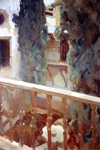landschaften-gemaelde - L'Alhambra de Grenade, balcon - Sorolla, Joaquin