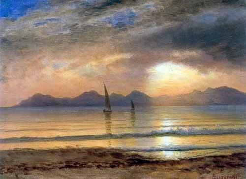 landschaften-gemaelde - Sunset Over A Mountain Lake - Bierstadt, Albert