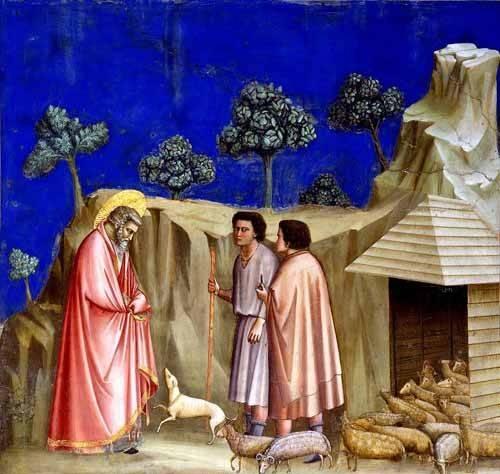 religioese-gemaelde - Joachim retires to the sheepfold - Giotto, Bondone di