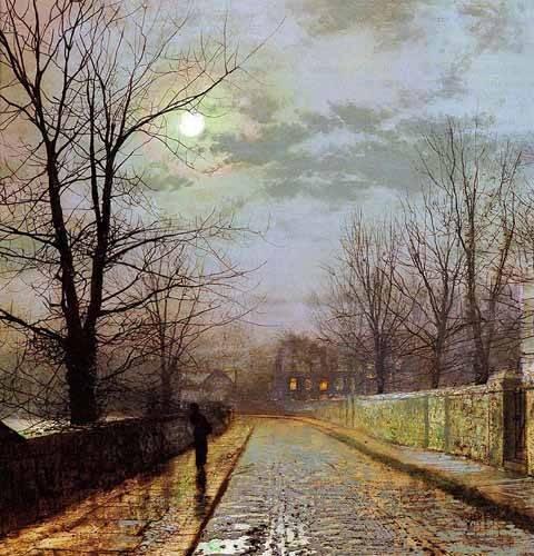 landschaften-gemaelde - Calle de Cheshire - Grimshaw, John Atkinson