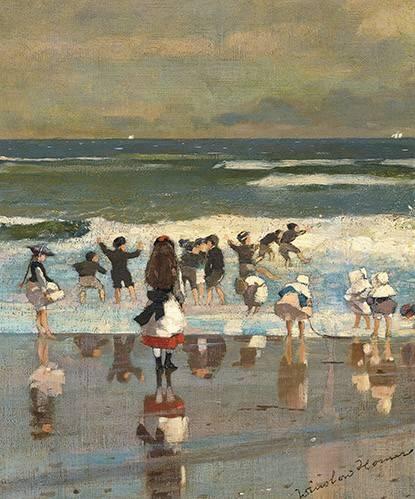 seelandschaft - Escena de playa con niños jugando en las olas - Homer, Winslow
