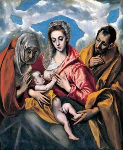 religioese-gemaelde - La Sagrada Familia con Santa Ana (1595) - Greco, El (D. Theotocopoulos)