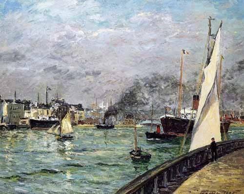seelandschaft - Partida de un barco de carga, Le Havre - Maufra, Maxime