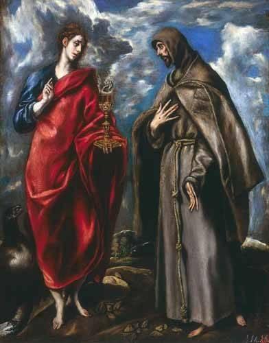 religioese-gemaelde - San Juan Evangelista y San Francisco - Greco, El (D. Theotocopoulos)