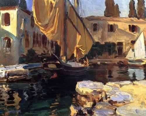 seelandschaft - Un barco con vela dorada - Sargent, John Singer