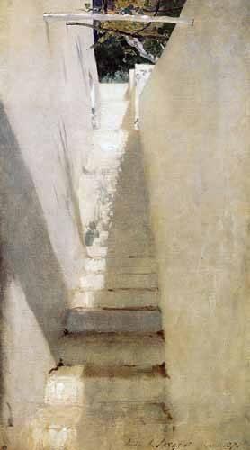 landschaften-gemaelde - Escalinata en Capri - Sargent, John Singer