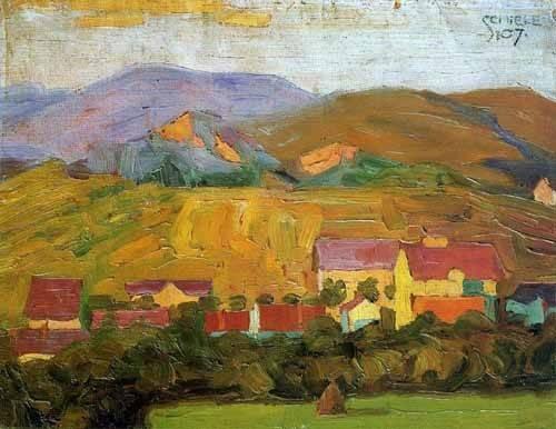 landschaften-gemaelde - Pueblo con montañas - Schiele, Egon