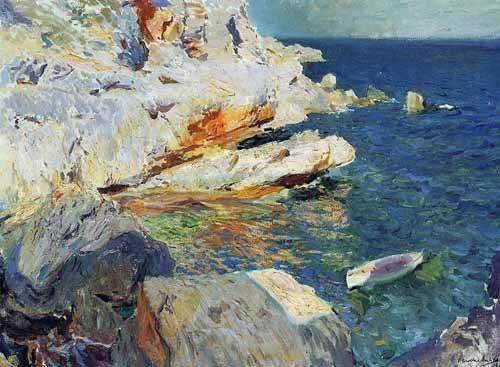 seelandschaft - Roches de Jávea et le bateau blanc - Sorolla, Joaquin