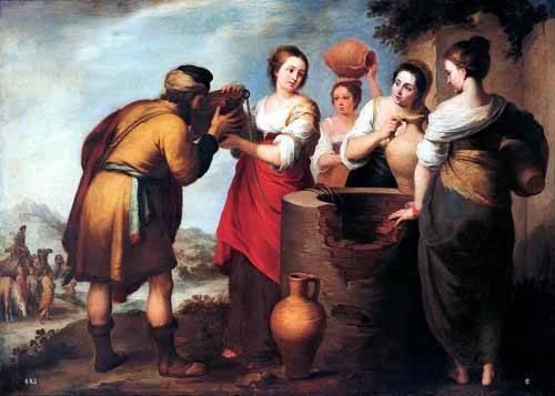 religioese-gemaelde - Rebeca y Eliecer - Murillo, Bartolome Esteban