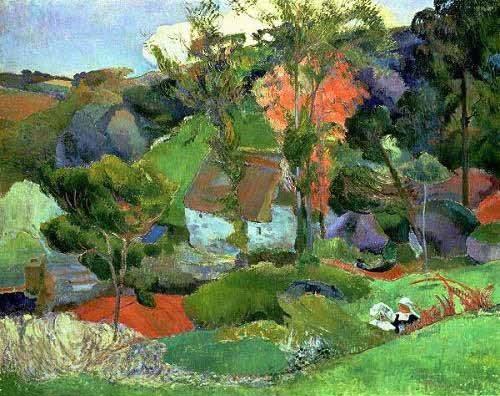 landschaften-gemaelde - Paisaje en Pont Aven - Gauguin, Paul