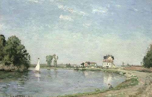 landschaften-gemaelde - Au bord de la rivière - Pissarro, Camille