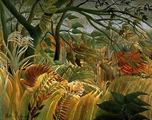 landschaften-gemaelde - Tigre en una tormenta tropical - Rousseau, Henri