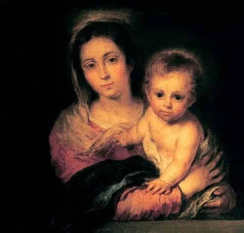 religioese-gemaelde - La Virgen y el Niño - Murillo, Bartolome Esteban