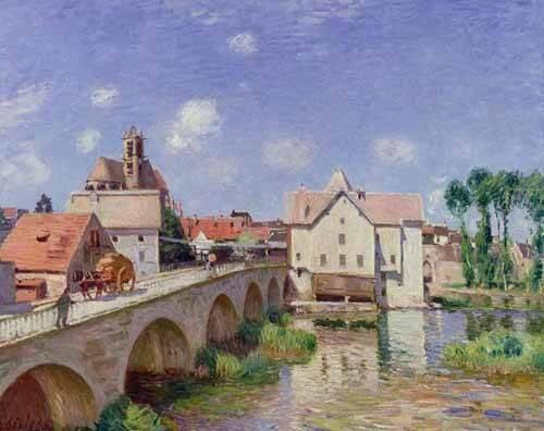 landschaften-gemaelde - El puente de Moret - Sisley, Alfred