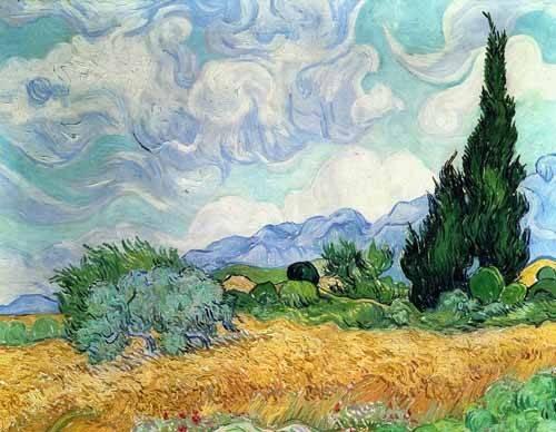 landschaften-gemaelde - Weizenfeld mit Zypressen - Van Gogh, Vincent