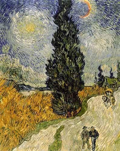 landschaften-gemaelde - Route avec un cyprès et une étoile - Van Gogh, Vincent