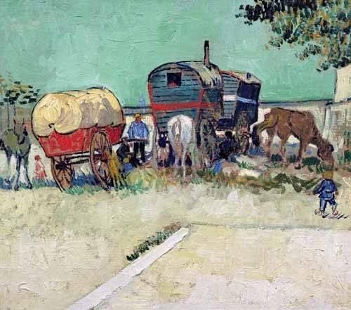 landschaften-gemaelde - Les roulottes, campement de bohémiens aux environs d'Arles - Van Gogh, Vincent