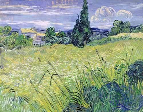 landschaften-gemaelde - Champ de blé vert avec cyprès - Van Gogh, Vincent